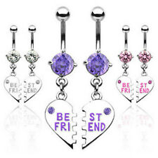 A Pair of Best Friend Charm Pendent CZ Navel Belly Ring
