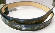 Belt All Leather Cowhide Blue Embossed Hand Painted Eagles Design Made in USA