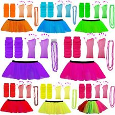 NEON TUTU SKIRTS FANCY DRESS LEG WARMERS GLOVES BEADS 1980S HEN PARTY
