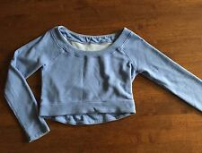 Lululemon Good Karma Pullover Cropped French Terry Sweatshirt Heathered Blue