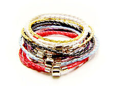 Leather Charm Bead Bracelet Double Wrap Braided (Fit European bead)