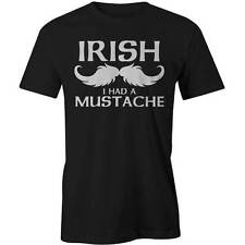 Irish Mustache T-Shirt Funny Moustache St Patricks Day Tee New