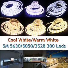 5630 3528 5050 5M White 300 SMD 12V LED Flexible Strip Light Waterproof Adapter