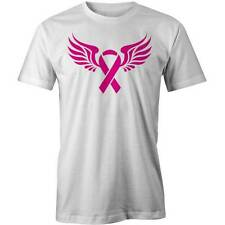 BREAST CANCER RIBBON WITH WINGS T-shirt Funny Tee New