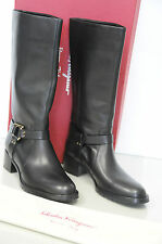 $895 NEW Salvatore Ferragamo Black Leather riding motorcycle Flat BOOTS SHOES 10