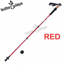 New 1x Red Trekking Walking Hiking Stick Pole Alpenstock Adjustable Anti-Shock