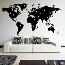 World Map Atlas with Google Dots Vinyl Wall Sticker Decor Art Decal Mural DIY