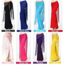 Belly Dance Sequins Long Tassel Belly Dance Belt Hip Scarf Wrap Costume 8 Colors