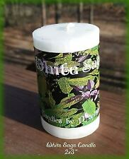 "WHITE SAGE Candle 2x3"" ~Purifying~Cleansing~Smudging~White Sage Herb Bits"