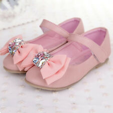 Girls Party Shoes Pink Chiffon Bow Crystal Round Toe Mary Jane Ballet Flats