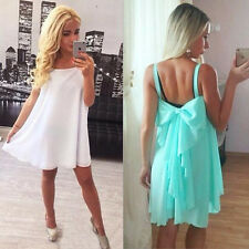 Sexy Women Summer Chiffon Sleeveless Mini Beach Party Dress Cute Bow knot Back