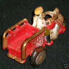 Cast Iron CRASH CAR Indian MOTORCYCLE with RIDER, 3 Turning WHEELS. Red TRICYCLE