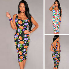 New Strap Floral Women Long Dress Bodycon Tight Sexy Backless Club Casual Party