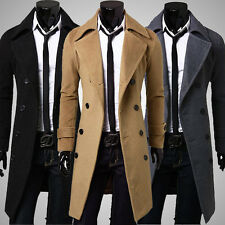 New Stylish Men Slim Fit Trench Coat Winter Long Jacket Double Breasted Overcoat