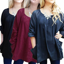 Ladies UK Plus Size 20 - 32 Cotton Long Tunic Tops with Pockets- 3 Colours