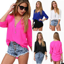 Sexy Womens Ladies V-neck Chiffon Long Sleeve Casual Blouse Loose Tops T-Shirt