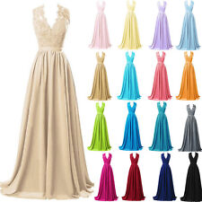 Stock Long Lace Bridesmaid Evening Formal Dress Party Ball Gown Prom Bridal 6-18