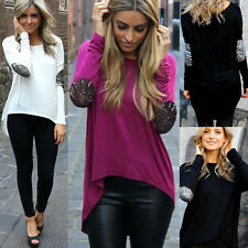 Women Lady Loose Casual Long Sleeve Sexy Shirt Tops Blouse Ladies Tee T-Shirt