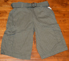 Men's Carbon Rue 21 Gray Plaid Lightweight Cargo Shorts With Belt Size 26