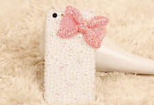 Charms Bling Pearls Rhinestones Cute Pink Bow Hard Case For Various Mobile Phone
