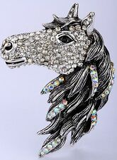 Big Horse Head Trunk Stretchy Ring Crystal Rhinestone Animal Jewelry Gift RA16