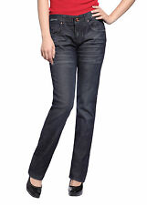 Sexy Women Straight Leg Jeans Slim Fit Pencil Trousers Blue Denim Pants UK 6-14