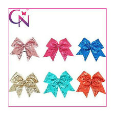 3pcs Sequin Bling Large Cheerleading Cheer Bow With Elastic Band For Girls