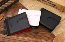New Genuine Leather Wallet Credit Card ID Holder Money Clip Black/White/Red