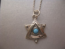 Turquoise Star of David Sterling Silver Necklace Unisex Judaica Pretty Pendant