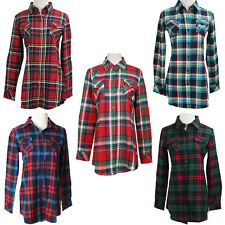 Boyfriend Check&Flannel Checked Tartan Plaid Shirt check Button Top Shirt Blouse