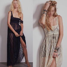 Womens Party Prom Cocktail See Through Sheer floral lace Evening maxi slip Dress
