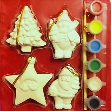 4 CERAMIC PAINT YOUR OWN CHRISTMAS TREE DECORATIONS SET + PAINTS + BRUSH