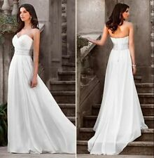 New Chiffon Elegant ivory White Beach Wedding dress Bridal Gown Custom Size
