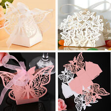 50PCS Butterfly Laser Cut Favor Box Wedding Party Baby Bomboniere Gift Favors