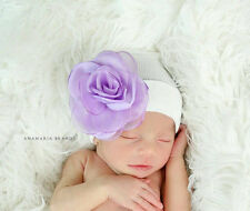 Newborn Beanie White Hat! Newborn Hospital Hat With Purple Silk & Organza Flower