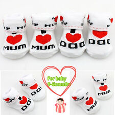 Cute Newborn Baby Soft Cotton Toddler Infant I Love Mom/Dad Socks 0~6 Months