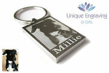 Personalised PHOTO AND TEXT Engraved Keyring STAINLESS STEEL - Pet Dog Cat Gift