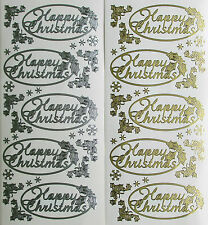 HAPPY CHRISTMAS OVAL PEEL OFF STICKERS Corners Snowflakes Stars