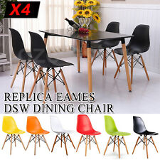 4x Retro Replica Eames Dining Chair Eiffel DSW Cafe Kitchen Beech Wood ABS NEW