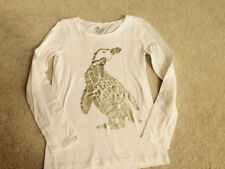 NWOT OLD NAVY WHITE SILVER PENGUIN  LONG SLEEVE TOP SHIRT GIRLS SIZE L 10 12 NEW