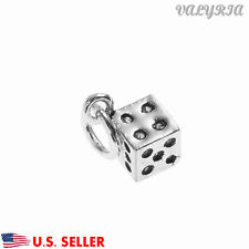 VALYRIA 925 Sterling Silver Dice Charm Pendant Jewelry Making Findings 5.2mm Dia