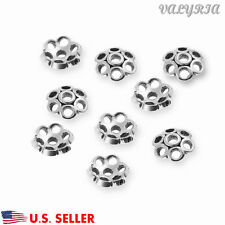 925 Sterling Silver Flower Beads Cap Connector Jewelry Making Findings 7.3mm Dia