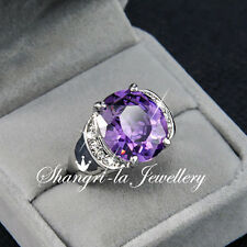18K White GOLD GP Womens Purple AMETHYST Cocktail RING SWAROVSKI CRYSTAL R2040