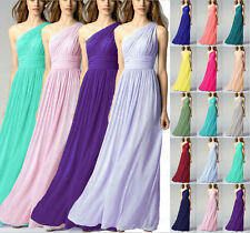 Floor Length One shoulder Formal Evening Gowns Bridesmaid Dresses Size 6++++++18
