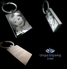 Personalised Photo Engraved Rectangle Keyring Keychain - Great Gift Idea!