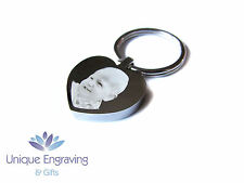Personalised Photo Engraved Heart Keyring Keychain - Great Gift Idea!
