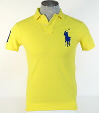 Ralph Lauren Custom Fit Yellow Short Sleeve Polo Shirt Big Blue Polo Pony Mens