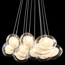 Double-Layer Oval Glass Shaded Multi Pendant Light Chandelier Ceiling Fixture