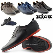 Mens Real Leather Smart Formal Lace Up Casual Trainers Flat Sole Fashion Shoes