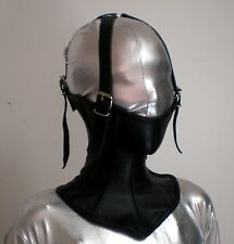 Real Leather Over Mouth Neck Corset With Over Head Straps Black